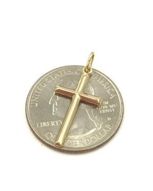 Simple 14k Yellow Gold Small Religious Cross Pendant 0.44 g