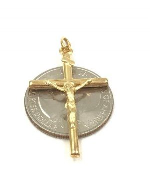 1.75 Inch Long Religious INRI 14k Yellow Gold Jesus Crucifix Cross Pendant Signed K14 Italy