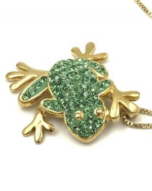 Cute Vermeil Sterling Silver 3-D Frog Pendant Necklace Green Rhinestones Signed 925 AV