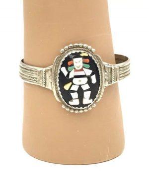 Bev Etsate Zuni Old Pawn Silver Shell Multi Stone Cuff Bracelet