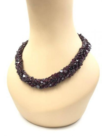 Jay King DTR Seven Strand Braided Purple Bead Sterling Silver Necklace