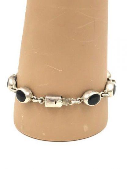 Sterling Silver Vintage 925 T0-80 Mexico Onyx Bracelet Box Clasp