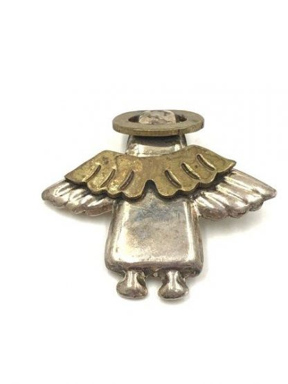 Sterling Silver Angle Pin Brooch Brass Wings Halo