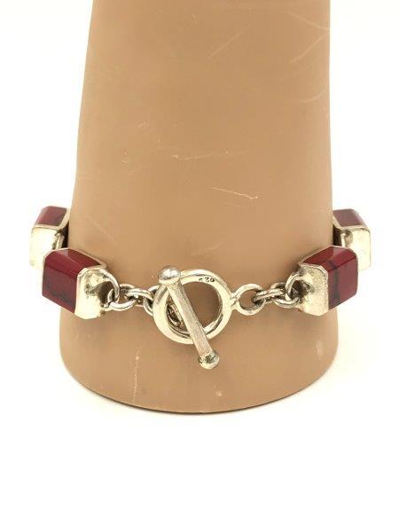Red Jasper Sterling Silver Bracelet 925