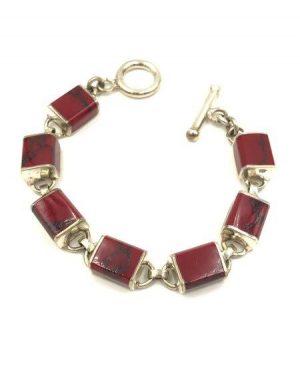 Red Jasper Sterling Silver Link Bracelet 925