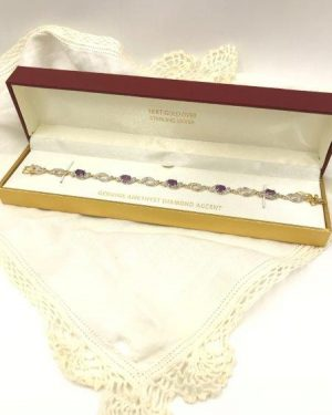 Gorgeous Diamond Accent Bracelet Genuine Amethyst 18K Gold Plated Over Sterling Silver 7.25″