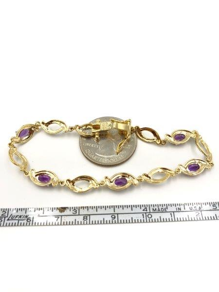 """for sale Gorgeous Diamond Accent Bracelet Genuine Amethyst 18K Gold Plated Over Sterling Silver 7.25"""""""