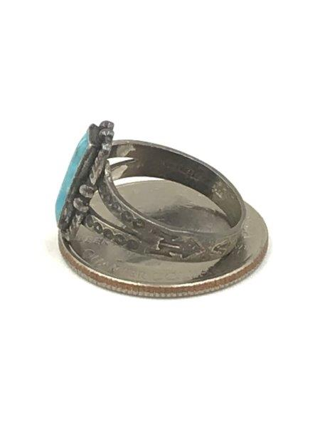 Vintage Old Pawn Native American Sterling Turquoise Inlay Ring Size 6