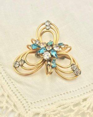 Vintage Art Deco 1/20 12 KT GF Blue Clear Rhinestone Brooch Signed Phyllis
