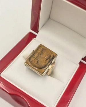 Vintage 10K Gold Ring Tigers Eye Conquistador Cameo Size 10 Mens BIKER ROMAN Gents