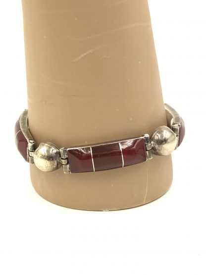 Carnelian Gemstone Sterling Silver Link Bracelet picture of jewelry for sale