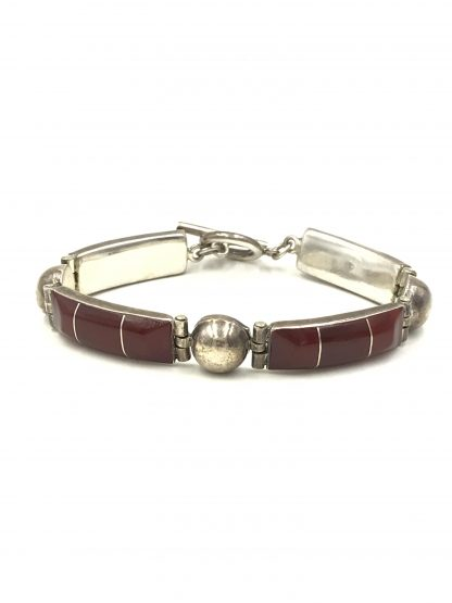 Carnelian Gemstone Sterling Silver Link Bracelet jewelry for sale
