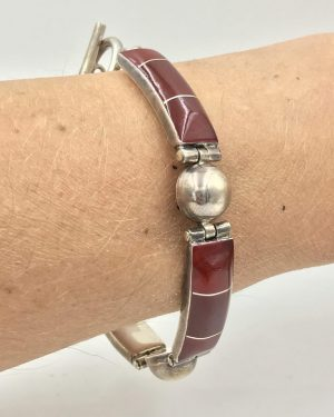 Unique Carnelian Gemstone Sterling Silver Link Bracelet ATI 925 Mexico