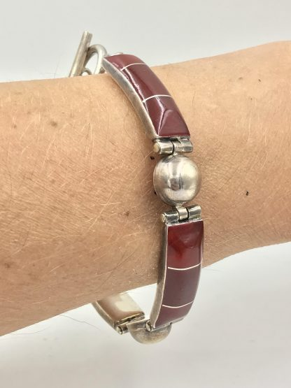 picture of Carnelian Gemstone Sterling Silver Link Bracelet jewelry for sale