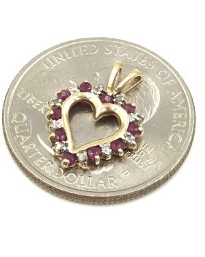 Modern 10k Yellow Gold Ruby Diamond Open Heart Small Ladies Pendant