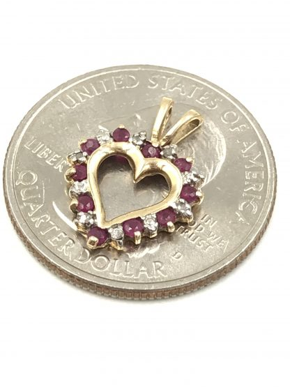 Modern 10k Yellow Gold Ruby Diamond Open Heart Small Ladies Pendant jewelry for sale