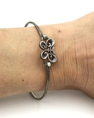 James Avery Sterling Silver 925 Retired Butterfly Hook Bangle Bracelet JA Ster
