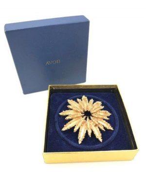 1970's VINTAGE Signed AVON Gold Starburst Brooch Original Box