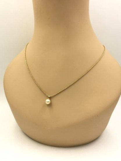 14k yellow gold pearl pendant necklace for sale