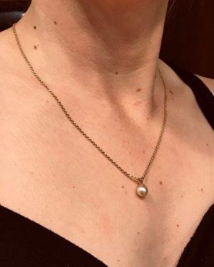 Gorgeous 14k Italy Pearl Pendant Necklace Yellow Gold 19″