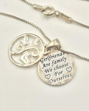 Sterling Silver Girlfriends Are Family We Choose For Ourselves Two-Piece Pendant Hearts Necklace