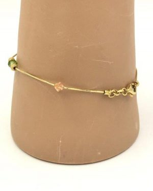 Dainty 14K Yellow Gold Women's Snake Chain Bead Ball Bracelet