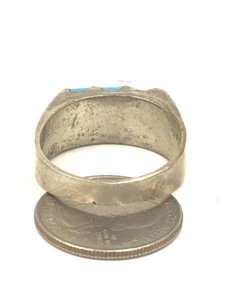vintage mens size 15.5 sterling silver turquoise ring for sale