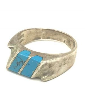 Vintage Mens Sterling Silver Turquoise Inlay Ring Size 14