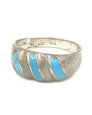 Vintage Mens Mexico Sterling Silver Turquoise Inlay Ring Size 14