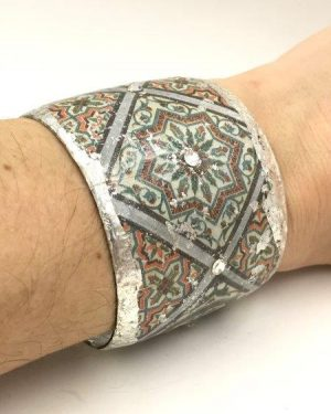 Evocateur Silver Leaf Rhinestone Cuff Bracelet Multi-Color