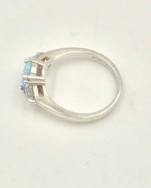 Estate AVON Sterling Silver 925 Oval Gilson Opal Trillion CZ Ring Size 6