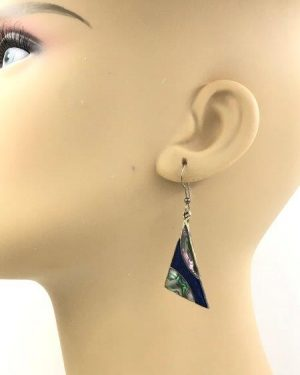 Alpaca Silver Vintage Inlaid Abalone Shell Dangle Earrings Mexico