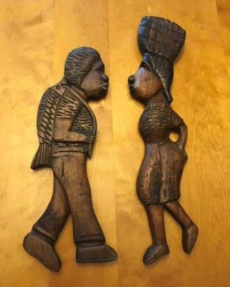 Carved Wood Wall Sculptures Hanging Africa Art Ethnic Man Women Set for sale