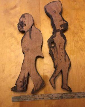 Carved Wood Wall Sculptures Hanging Africa Art Ethnic Man Women Set