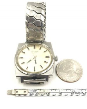 Vintage ZentRa Automatic Men's Wrist Watch PUW 1560 Stainless Steel Untested Parts Repair