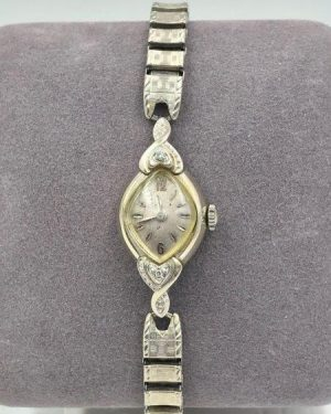 Antique Bulova Wrist Watch Diamond Accents 10K Rolled Gold 23 Jewels Winding Wristwatch Untested Parts Repair