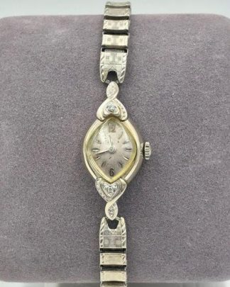 Antique Bulova Wrist Watch Diamond Accents 10K Rolled Gold 23 Jewels Winding for sale