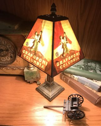 Vintage Rare Grafofoni Columbia Painted Table Lamp for sale