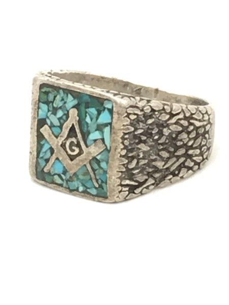 Vintage Sterling Silver Native American Mason Ring Turquoise Chip Inlay for sale
