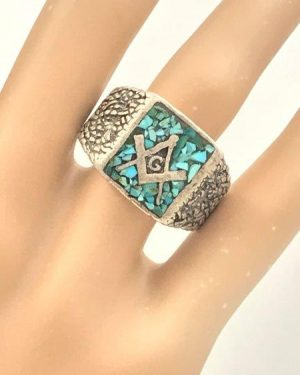 Vintage Sterling Silver Native American Mason Ring Turquoise Chip Inlay