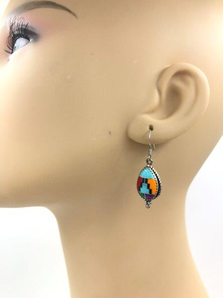 Southwest Style Inlay Necklace Earring Set Sterling Silver Liquid Chain for sale