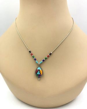 Southwest Style Inlay Necklace Earring Set Sterling Silver Liquid Chain Turquoise Coral Onyx