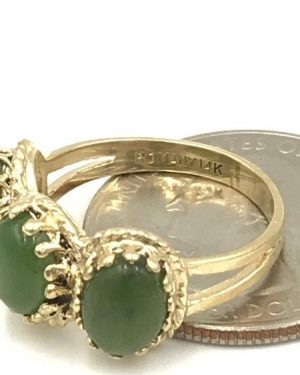 ROMANY Designer Women's Cocktail Ring Three Stone Green Stone 14k Yellow Gold