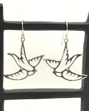 1.5″ Solid Sterling Silver Flying Dove Bird Dangle Earrings 3.23g BEAUTY