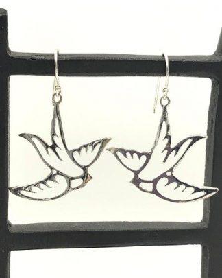 Sterling Silver Flying Dove Bird Dangle Earrings for sale
