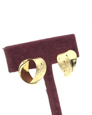 Vintage 14k Yellow Gold Heart Post Earrings Brushed Gold