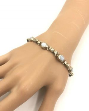 Sterling Silver Vintage Mexico Link Bracelet Toggle Clasp