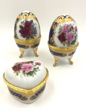 Vintage Porcelain Egg Candle Heart Box Gold Footed Gold Trim Hinged Lid Matching Set 3 Lot