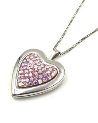 Treasured Moments Sterling Silver Pink Crystal Heart Locket Necklace for sale