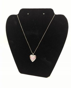 Treasured Moments Sterling Silver Pink Crystal Heart Locket Necklace
